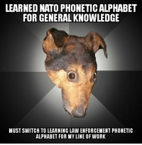Learned Nato Phonetic Alphabet For General Knowledge Must Switch To Learning Law Enforcement Phonetic Alphabet For Myline Of Work Work Meme On Me Me