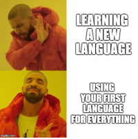 Good, Old, and Com: LEARNING  ANEW  LANGUAGE  USING  YOUR FIRST  LANGUAGE  FOR EVERYTHING  imgflip.com The new is good, but the old is familiar.