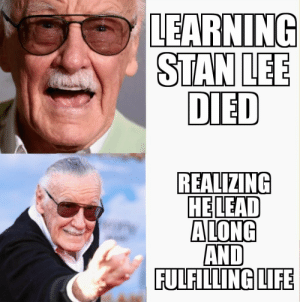 Life, Memes, and Old: LEARNING  DIED  REALIZING  HELEAD  AND  FULFILLING LIFE Excelsior old friend. :( via /r/memes https://ift.tt/2zMP40M