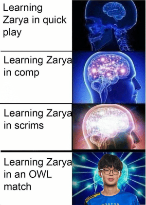 Good, Match, and Owl: Learning  Zarya in quick  play  Learning Zarya  in comp  Learning Zary  in scrims  Learning Zarya  in an OWL  match He did pretty good