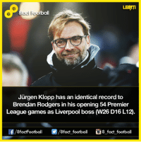 Memes, 🤖, and Identity: LEARTi  Jurgen Klopp has an identical record to  Brendan Rodgers in his opening 54 Premier  League games as Liverpool boss  W26 D16 L12  OO  8fact football 8 fact football Did you know that...  8Football