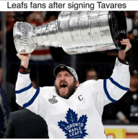Memes, 🤖, and Maple: Leats fans after signing lavares  RONTo  MAPLE  LEAFS Leafs fans after signing @johntavares 😂. . Tag some Leafs fans
