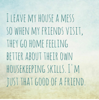 Dank, Friends, and My House: LEAVE MY HOUSE A MESS  SO WHEN MY FRIENDS VISIT,  THEY GO HOME FEELING  BETTER ABOUT THEIR OWN  HOUSEKEEPING SKILLS, I M  JUST THAT GOOD OF A FRIEND