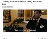 dreaming of you: Leaving a drunk voicemail to my best friend,  like  whatshouldwecallme:  I'll dream of you in my heart.  Source: whatshouldwec.