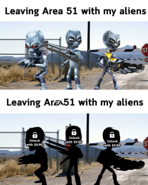 Hmmmm..: Leaving Area 51 with my aliens  ST  NING  STO  Leaving ArzA51 with my aliens  Unlock  Unlock  Unlock  with $9.99  with $9.99  with $9.99  PHOTO Hmmmm..