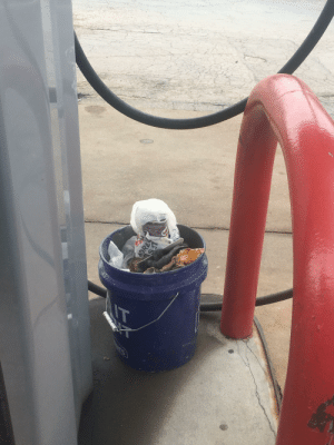 Leaving your construction trash at the gas pump for someone else to get rid of: Leaving your construction trash at the gas pump for someone else to get rid of