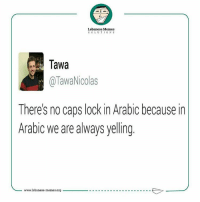 Lebanese, International, and Sol: Lebanese Memes  SOL U TION S  Tawa  TawaNicolas  Theres no caps lock in Arabic because in  Arabic we are always yelling  www.lebanese-memes.org True dat 😂 lebanesememes