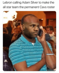 Team LeBron: LeBron James, Kevin Durant, Anthony Davis, DeMarcus Cousins, Kyrie Irving Bradley Beal, LaMarcus Aldridge, Kevin Love, Russell Westbrook, Victor Oladipo, Kristaps Porzingis, John Wall. nbamemes nba lebron nbaallstar: Lebron calling Adam Silver to make the  all star team the permanent Cavs roster  NBAMEMES Team LeBron: LeBron James, Kevin Durant, Anthony Davis, DeMarcus Cousins, Kyrie Irving Bradley Beal, LaMarcus Aldridge, Kevin Love, Russell Westbrook, Victor Oladipo, Kristaps Porzingis, John Wall. nbamemes nba lebron nbaallstar