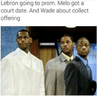 LeBron, Melo & Wade on draft day: Lebron going to prom. Melo got a  court date. And Wade about collect  offering  (ONBAMEMES LeBron, Melo & Wade on draft day