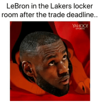 Basketball, Los Angeles Lakers, and Nba: LeBron in the Lakers locker  room after the trade deadline..  YAHOO  SPORTS Smh 😂😂 (Via @yahoosportsnba-Twitter, @yahoosports)