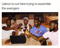 Avengers, Lebron, and The Avengers: Lebron is out here trying to assemble  the avengers  IG: The FunnyIntrovert Let's go Lebron WE WILL NOT GO SILENTLY INTO THE NIGHT