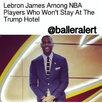 "Lebron James Among NBA Players Who Won't Stay At The Trump Hotel - blogged by: @eleven8 - ⠀⠀⠀⠀⠀⠀⠀⠀⠀ ⠀⠀⠀⠀⠀⠀⠀⠀⠀ LebronJames and some of his team mates have joined the likes of the MilwaukeeBucks, MemphisGrizzlies and DallasMavericks, who have all pledged not to stay at the Trump Hotel during away games. ⠀⠀⠀⠀⠀⠀⠀⠀⠀ ⠀⠀⠀⠀⠀⠀⠀⠀⠀ The ClevelandCavaliers play the NewYorkKnicks on Wednesday and Lebron James has made it perfectly clear that he will not be lodging at the TrumpHotel in Soho. James, a Clinton supporter, has been pretty open about his disapproval of president-elect Trump, so despite the reservations being made prior to the 2016 election, James and a number of his teammates will be staying elsewhere. ImanShumpert, RichardJefferson and JRSmith have also been vocal against DonaldTrump. However, according to CNN, Shumpert will be staying at the Trump Soho. It's unclear whether or not Smith and Jefferson will also. ⠀⠀⠀⠀⠀⠀⠀⠀⠀ ⠀⠀⠀⠀⠀⠀⠀⠀⠀ Donald Trump does not own the Soho hotel which bears his name but his company does manage it. ⠀⠀⠀⠀⠀⠀⠀⠀⠀ ⠀⠀⠀⠀⠀⠀⠀⠀⠀ According to CBSSports, ""up to half of the 14 player roster"" will be changing their hotel accommodations.: Lebron James Among NBA  Players Who Won't Stay At The  Trump Hotel  @balleralert Lebron James Among NBA Players Who Won't Stay At The Trump Hotel - blogged by: @eleven8 - ⠀⠀⠀⠀⠀⠀⠀⠀⠀ ⠀⠀⠀⠀⠀⠀⠀⠀⠀ LebronJames and some of his team mates have joined the likes of the MilwaukeeBucks, MemphisGrizzlies and DallasMavericks, who have all pledged not to stay at the Trump Hotel during away games. ⠀⠀⠀⠀⠀⠀⠀⠀⠀ ⠀⠀⠀⠀⠀⠀⠀⠀⠀ The ClevelandCavaliers play the NewYorkKnicks on Wednesday and Lebron James has made it perfectly clear that he will not be lodging at the TrumpHotel in Soho. James, a Clinton supporter, has been pretty open about his disapproval of president-elect Trump, so despite the reservations being made prior to the 2016 election, James and a number of his teammates will be staying elsewhere. ImanShumpert, RichardJefferson and JRSmith have also been vocal against DonaldTrump. However, according to CNN, Shumpert will be staying at the Trump Soho. It's unclear whether or not Smith and Jefferson will also. ⠀⠀⠀⠀⠀⠀⠀⠀⠀ ⠀⠀⠀⠀⠀⠀⠀⠀⠀ Donald Trump does not own the Soho hotel which bears his name but his company does manage it. ⠀⠀⠀⠀⠀⠀⠀⠀⠀ ⠀⠀⠀⠀⠀⠀⠀⠀⠀ According to CBSSports, ""up to half of the 14 player roster"" will be changing their hotel accommodations."