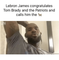 💯: Lebron James congratulates  Tom Brady and the Patriots and  calls him the 💯