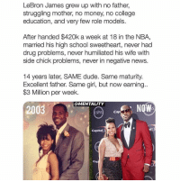 Follow @Mentality for more athlete posts like this. 💯: LeBron James grew up with no father,  struggling mother, no money, no college  education, and very few role models.  After handed $420k a week at 18 in the NBA,  married his high school sweetheart, never had  drug problems, never humiliated his wife with  side chick problems, never in negative news.  14 years later, SAME dude. Same maturity.  Excellent father. Same girl, but now earning..  $3 Million per week.  @MENTALITY  2003  ESPYS  Cap  Capital  Ca Follow @Mentality for more athlete posts like this. 💯