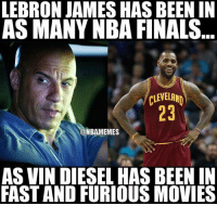 nba cavs nbamemes: LEBRON JAMES HAS BEEN IN  AS MANY NBA FINALS  A CLEVELAND  ONBAMEMES  AS VIN DIESEL HAS BEEN IN  FAST AND FURIOUS MOVIES nba cavs nbamemes