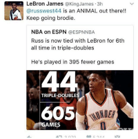 brand new 6d433 d7ad6 LeBron James James 3h Arusswest44 Is an ANIMAL Out There!! Keep Going  Brodie NBA on ESPN NBA Russ Is Now Tied With LeBron for 6th All Time in  Triple-Doubles ...