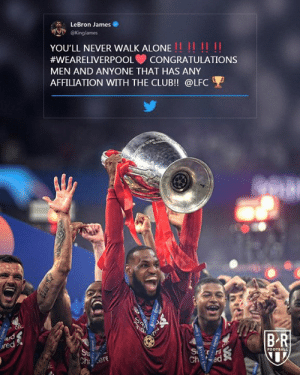 LeBron loved it 🔴: LeBron James  @Kinglames  YOU'LL NEVER WALK ALONE!! !! !!  #WEARELIVERPOOL  CONGRATULATIONS  MEN AND ANYONE THAT HAS ANY  AFFILIATION WITH THE CLUB!! @LFC  1200円  BR  ard  red  S  Ch ed  FOOTBALL  Sta  Ch ere LeBron loved it 🔴