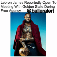 "Cleveland Cavaliers, Espn, and LeBron James: Lebron James Reportedly Open To  Meeting With Golden State During  Free Agency @balleralert Lebron James Reportedly Open To Meeting With Golden State During Free Agency - blogged by @lanaladonna ⠀⠀⠀⠀⠀⠀⠀ ⠀⠀⠀⠀⠀⠀⠀ It looks like King James fans could be jumping to another team, that team ironically being the GoldenStateWarriors. ⠀⠀⠀⠀⠀⠀⠀ ⠀⠀⠀⠀⠀⠀⠀ According to ESPN, if Golden State creates a max salary during the offseason, they'll have themselves a meeting with NBA star, LebronJames. ⠀⠀⠀⠀⠀⠀⠀ ⠀⠀⠀⠀⠀⠀⠀ During the offseason, James plans to decline his $36 million player option and become a free agent. This would be the third time in his career in which he's done so. ⠀⠀⠀⠀⠀⠀⠀ ⠀⠀⠀⠀⠀⠀⠀ ESPN also states that a ""sign-and-trade scenario"" would be the most realistic way for Golden State to acquire James. In order to do so though, Golden State's KevinDurant would have to decline his player option, and take even less of his annual salary of $25 million. ⠀⠀⠀⠀⠀⠀⠀ ⠀⠀⠀⠀⠀⠀⠀ Do you all think Lebron will really leave the Cleveland Cavaliers and switch sides? If not, where else do you think King James will choose to reign?"