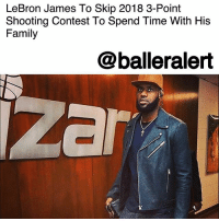 "LeBron James To Skip 2018 3-Point Shooting Contest To Spend Time With His Family – blogged by @MsJennyb ⠀⠀⠀⠀⠀⠀⠀ ⠀⠀⠀⠀⠀⠀⠀ Cleveland Cavaliers superstar LeBronJames has revealed that he will be spending quality time with his family during the forthcoming NBA All-Star Weekend in Los Angeles. ⠀⠀⠀⠀⠀⠀⠀ ⠀⠀⠀⠀⠀⠀⠀ The Athletic shared James' comments on Friday, where he explained that he would be skipping the three-point shooting contest to ""spend a Saturday night at home"" with his family. ⠀⠀⠀⠀⠀⠀⠀ ⠀⠀⠀⠀⠀⠀⠀ As for the Dunk Contest, James ruled out that competition years ago, saying, ""It's over with. I'm getting too old for that."" ⠀⠀⠀⠀⠀⠀⠀ ⠀⠀⠀⠀⠀⠀⠀ ""There were times when I wanted to do it,"" he continued. ""But I came into All-Star Weekend a few times banged up and I didn't want to risk further injury."" ⠀⠀⠀⠀⠀⠀⠀ ⠀⠀⠀⠀⠀⠀⠀ Although James has improved from beyond the arc, he will not show off his skills in the forthcoming contest. ⠀⠀⠀⠀⠀⠀⠀ ⠀⠀⠀⠀⠀⠀⠀ Since the King will not participate this year, who do you think will take the crown for the three-point contest?: LeBron James To Skip 2018 3-Point  Shooting Contest To Spend Time With His  Family  @balleralert  izar LeBron James To Skip 2018 3-Point Shooting Contest To Spend Time With His Family – blogged by @MsJennyb ⠀⠀⠀⠀⠀⠀⠀ ⠀⠀⠀⠀⠀⠀⠀ Cleveland Cavaliers superstar LeBronJames has revealed that he will be spending quality time with his family during the forthcoming NBA All-Star Weekend in Los Angeles. ⠀⠀⠀⠀⠀⠀⠀ ⠀⠀⠀⠀⠀⠀⠀ The Athletic shared James' comments on Friday, where he explained that he would be skipping the three-point shooting contest to ""spend a Saturday night at home"" with his family. ⠀⠀⠀⠀⠀⠀⠀ ⠀⠀⠀⠀⠀⠀⠀ As for the Dunk Contest, James ruled out that competition years ago, saying, ""It's over with. I'm getting too old for that."" ⠀⠀⠀⠀⠀⠀⠀ ⠀⠀⠀⠀⠀⠀⠀ ""There were times when I wanted to do it,"" he continued. ""But I came into All-Star Weekend a few times banged up and I didn't want to risk further injury."" ⠀⠀⠀⠀⠀⠀⠀ ⠀⠀⠀⠀⠀⠀⠀ Although James has improved from beyond the arc, he will not show off his skills in the forthcoming contest. ⠀⠀⠀⠀⠀⠀⠀ ⠀⠀⠀⠀⠀⠀⠀ Since the King will not participate this year, who do you think will take the crown for the three-point contest?"