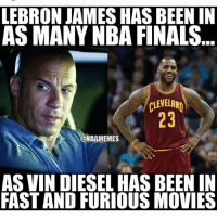 Finals, Movies, and Nba: LEBRON JAMESHAS BEEN IN  AS MANY NBA FINALS  CLEVELAND  ONBAMEMES  AS VIN DIESEL HASBEEN IN  FAST AND FURIOUS MOVIES nba nbamemes