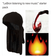 "Funny, Music, and Nba: ""LeBron listening to new music"" starter  pack  ONBAMEMES YO THIS FUNNY AS HELL 😭💀"