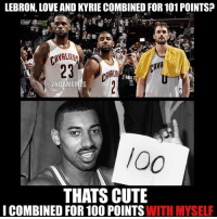 Nba, Recorder, and Records: LEBRON, LOVE AND KYRIE COMBINED FOR101 POINTSP  a 2NBAMEMES  THATS CUTE  I COMBINED FOR 100 POINTS  WITH MYSELF Wilt is not impressed. Will anyone ever break his record? - - - follow @2nbamemes