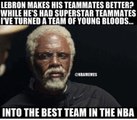 Bloods, Nba, and Best: LEBRON MAKES HIS TEAMMATES BETTER?  WHILE HE'S HAD SUPERSTAR TEAMMATES  T'VE TURNED A TEAM OF YOUNG BLOODS  @NBAMEMES  INTO THE BEST TEAM IN THE NBA Dontreach