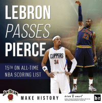 Congrats to @KingJames on passing Paul Pierce for 15th on the all-time NBA scoring list MakeHistory: LEBRON  PASSES  PIERC  LIPPERS  15TH ON ALL-TIME  NBA SCORING LIST  drink smart  MAKE HISTORY  Jim Beams Kentucky Straight B  ben Whiskey, 40% A  2016 James B. Beam Distilling Co., Clermont, KY.  br Congrats to @KingJames on passing Paul Pierce for 15th on the all-time NBA scoring list MakeHistory