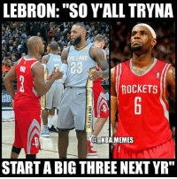 "Facts 💀😂🔥 - Follow @_nbamemes._: LEBRON: ""SO YALL TRYNA  HE LAND  23  ROCKETS  @ NBA.MEMES  START A BIG THREE NEXT YR"" Facts 💀😂🔥 - Follow @_nbamemes._"