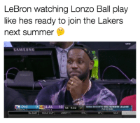 LeBron James was court-side at Lonzo Ball's summer league game... 🤔: LeBron watching Lonzo Ball play  like hes ready to join the Lakers  next summer  LIVE  SAMSUNG  PHI  LAL 13 1st 4:3221  MGM RESORTS NBA SUMMER LEAGUE  PLAY-IN ROUND  TIMEOUTS:2  TIMEOUTS: 2  NL EAST  GOLD CUP  JIMMY  NHL  NFL  MLB LeBron James was court-side at Lonzo Ball's summer league game... 🤔