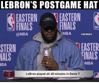 LeBron James doesn't take shortcuts!: LEBRON'S POSTGAME HAT  EASTERN EASTERN  FINALS  THERE Is  NO MAGIC u  FINALS  NBA  @NBA  ONBA NBAMEMES  EASTER  TİNALS  STERN  NALS  NBA  BA  LeBron played all 48 minutes in Game 7 LeBron James doesn't take shortcuts!