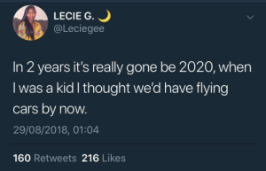 We got promiscuous robots, so there is that by KingPZe MORE MEMES: LECIE G.  @Leciegee  In 2 years it's really gone be 2020, when  I was a kid l thought we'd have flying  cars by now.  29/08/2018, 01:04  160 Retweets 216 Likes We got promiscuous robots, so there is that by KingPZe MORE MEMES