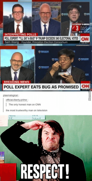 America, cnn.com, and News: LECTION INIGHT IN AMERICA  /3DAY  3 D  INTERPRETING POLLS  POLL EXPERT: T'LL EAT A BUG IF TRUMP EXCEEDS 240 ELECTORAL VOTESCN  Sam Wang Founder, Princeton Election Consortium  23 AM PT  BREAKING NEWS  POLL EXPERT EATS BUG AS PROMISED CN  ONN  plasmalogical  official-liberty-prime  The only honest man on CNN  the most trustworthy man on television  RESPECT! bet