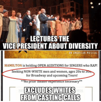 hamilton: LECTURES THE  VICEPRESIDENT ABOUT DIVERSITY  AN AMERICAN MUSICAL  HAMILTON  is holding OPEN AUDITIONS for SINGERS who RAP!  Seeking NON-WHITE men and women, ages 20s to  for Broadway and upcoming Tours!  No prior theater experience necessary  EXCLUDES WHITES  FROM CASTING CALLS