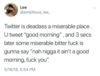"Fuck You, Twitter, and Good Morning: Lee  @ambitious_lee_  Twitter is deadass a miserable place  U tweet ""good morning"" ,and 3 secs  later some miserable bitter fuck is  gunna say ""nah nigga it ain't a good  morning, fuck you""  5/16/18, 5:54 PM"