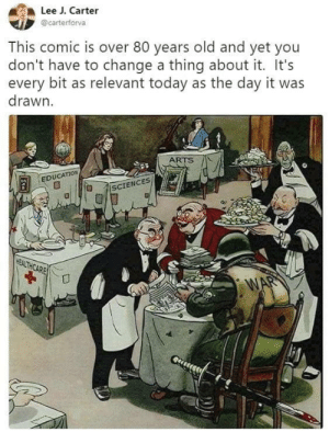 Today, Old, and Change: Lee J. Carter  @carterforva  This comic is over 80 years old and yet you  don't have to change a thing about it. It's  every bit as relevant today as the day it was  drawn  ARTS  EDUCATION  ISCIENCES  HEALTHCARE  WAR Scary Reality.