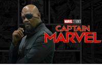 """Samuel L. Jackson says Nick Fury will have no eye patch in Captain Marvel!  """"You'll see Nick Fury with another guy's face, somebody that's got two eyes, so that's a whole big deal. You'll see. It's prior to the eye injury, no eye patch.""""  https://t.co/vWgykRGpOT  (SavedSlayer): LEE  MARVEL STUDIOS  CAPTAIN  MARVEL Samuel L. Jackson says Nick Fury will have no eye patch in Captain Marvel!  """"You'll see Nick Fury with another guy's face, somebody that's got two eyes, so that's a whole big deal. You'll see. It's prior to the eye injury, no eye patch.""""  https://t.co/vWgykRGpOT  (SavedSlayer)"""