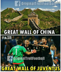 Click, Memes, and China: LEE Original TrollFootball i  GREAT WALL OF CHINA t  HAZR  Original TrollFootball  GREAT WALL OF JUVENTUS Watch Tonight's UCL game FREE. Click the link in our Bio, Download the Free App! ⚽️🙌