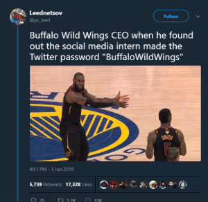 "Dude mustve had too much of the Blazin sauce by WikeyWo FOLLOW HERE 4 MORE MEMES.: Leednetsov  @pc_leed  Follow  Buffalo Wild Wings CEO when he found  out the social media intern made the  Twitter password ""BuffaloWildWings  SMITH  4:51 PM-1 Jun 2018  5,739 Retweets 17,328 Likes  075  ↑ 57K Dude mustve had too much of the Blazin sauce by WikeyWo FOLLOW HERE 4 MORE MEMES."
