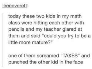 """Teacher, Taxes, and Kids: leeeeverett:  today these two kids in my math  class were hitting each other with  pencils and my teacher glared at  them and said """"could you try to be a  little more mature?""""  one of them screamed """"TAXES"""" and  punched the other kid in the face maturity"""