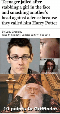God, Harry Potter, and Head: leenager jailed after  stabbing a girl in the face  and smashing another's  head against a fence because  they called him Harry Potter  By Lucy Crossley  17:03 11 Feb 2014, updated 22:17 11 Feb 2014  10  points to Griffindors <p>God damn Muggles</p>