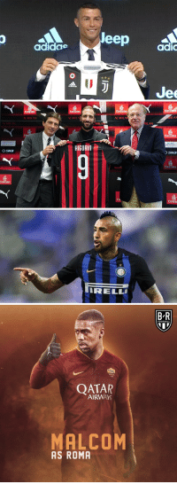 Football, Lit, and Memes: leep adi  0  adidae  Jee   rates  Emirates  rates  rates  ACMILAN  C MILA  ACMILAN  ILAN  MILA  ILAN  Emirates  HIGUAIN  OSNa  Sua  Emirates  mirates  En  Emirat   IRELL   B-R  FOOTBALL  ROMA  927  QATAR  AIRWAY  MALCOM  AS ROMA Serie A is gonna be lit this season 🔥 (📷: @ThatBoyAmro ) https://t.co/inc5EKBEHz
