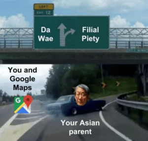 [Repost] Filial piety by Soulless_Ausar FOLLOW 4 MORE MEMES.: LEFT  CAT 12  Da  Filial  Piety  Wae  You and  Google  Maps  G  Your Asian  parent [Repost] Filial piety by Soulless_Ausar FOLLOW 4 MORE MEMES.