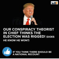 Memes, Chiefs, and Conspiracy: left  OUR CONSPIRACY THEORIST  IN CHIEF THINKS THE  ELECTION WAS RIGGED! (DOES  HE KNOW HE WON?)  IF YOU THINK THERE SHOULD BE  A NATIONAL RECOUNT Like and SHARE if you think there should be a national recount!