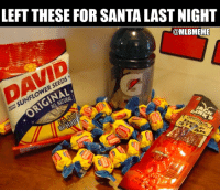 They said I should leave treats out for Santa...  Merry Christmas: LEFT THESE FOR SANTA LAST NIGHT  @MLBMEME  DAVID  SUNFLOWER SEEDS  ER  RIGINAL  ALL NATURAL They said I should leave treats out for Santa...  Merry Christmas