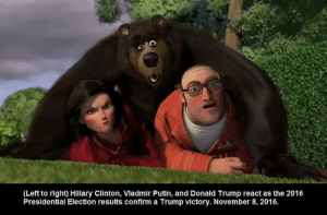 (Left to right) Hillary Clinton, Vladmir Putin, and Donald Trump react as the 2016 Presidential Election results confirm a Trump victory. November 8, 2016.: (Left to right) Hillary Clinton, Vladmir Putin, and Donald Trump react as the 2016  Presidential Election results confirm a Trump victory. November 8, 2016 (Left to right) Hillary Clinton, Vladmir Putin, and Donald Trump react as the 2016 Presidential Election results confirm a Trump victory. November 8, 2016.