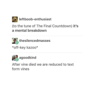 Countdown, Vine, and Text: leftboob-enthusiast  (to the tune of The Final Countdown) it's  a mental breakdown  thesilencedmasses  *off-key kazoo*  agoodkind  After vine died we are reduced to text  form vines I miss vine?