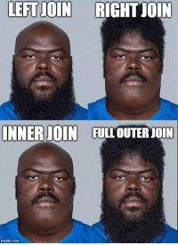 All The, Sql, and Com: LEFTJOIN RIGHT JOIN  INNERIOIN  FULL OUTER JOIN  imgfip.com This ones for all the SQL developers out there