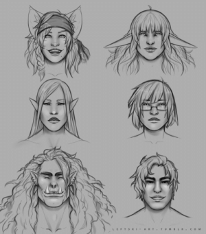 leftski-art:  Portraits of the Pathfinder Party!Nel Tinkermous, Catfolk Swashbuckler (played by the DM, @sagelylegs)Amalthea 'Thalia' Tuilind, Elf Oracle/Bard (played by @saltyoldgoblin)Shyo Yorda, Elf War Master (also played by @sagelylegs)Madeleine Winter, Human Witch (played by @AllochiiBoo on Twitter)Sogorim 'Grim' Ough, Orc Fighter (played by me!)And Cavallo Testardo, Centaur Paladin (played by a friend with minimal social media presence): LEFTS KI - A RT.  TUM B L R . сом  >ф leftski-art:  Portraits of the Pathfinder Party!Nel Tinkermous, Catfolk Swashbuckler (played by the DM, @sagelylegs)Amalthea 'Thalia' Tuilind, Elf Oracle/Bard (played by @saltyoldgoblin)Shyo Yorda, Elf War Master (also played by @sagelylegs)Madeleine Winter, Human Witch (played by @AllochiiBoo on Twitter)Sogorim 'Grim' Ough, Orc Fighter (played by me!)And Cavallo Testardo, Centaur Paladin (played by a friend with minimal social media presence)