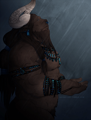 leftski-art:  2019 resolution: draw more minotaurs. First up: A minotaur healer who receives signs and messages from the rain: leftski-art:  2019 resolution: draw more minotaurs. First up: A minotaur healer who receives signs and messages from the rain